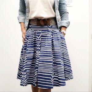 Anthropologie Maeve Blue & White Flare Skirt Sz 6